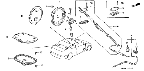 1996 civic EX 2 DOOR 4AT ANTENNA - SPEAKER diagram