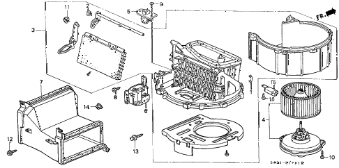 1997 civic EX(ABS) 2 DOOR 4AT HEATER BLOWER diagram