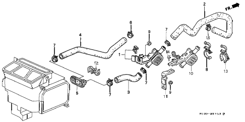 2000 civic EX 2 DOOR 4AT WATER VALVE diagram