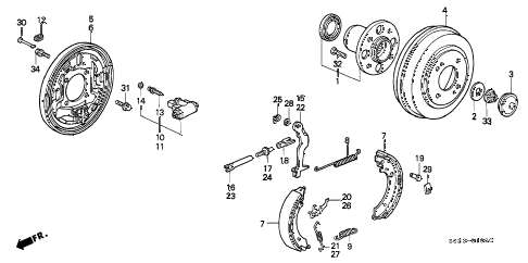 1998 civic DX(ABS,A/C) 2 DOOR 5MT REAR BRAKE (DRUM) (1) diagram