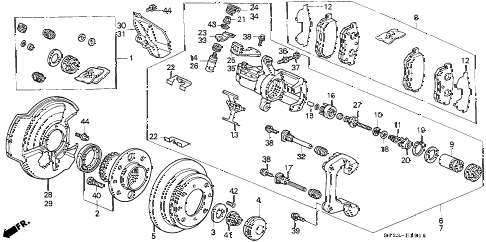 2000 civic SI 2 DOOR 5MT REAR BRAKE (DISK) diagram