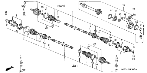 1997 civic DX(ABS,A/C) 2 DOOR 5MT DRIVESHAFT (1) diagram