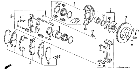 1996 civic DX(ABS) 2 DOOR 5MT FRONT BRAKE (1) diagram