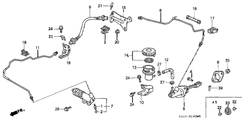 2000 civic HX 2 DOOR 5MT CLUTCH MASTER CYLINDER (1) diagram