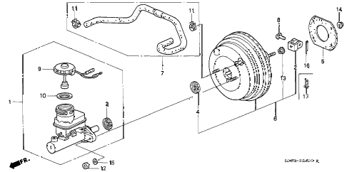 1997 civic EX 2 DOOR 4AT BRAKE MASTER CYLINDER  - MASTER POWER (1) diagram