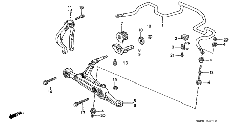1996 civic EX 2 DOOR 4AT FRONT LOWER ARM (1) diagram