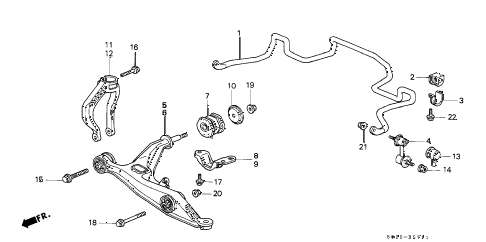 2000 civic SI 2 DOOR 5MT FRONT LOWER ARM (2) diagram