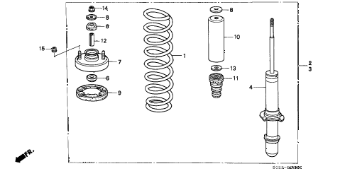 1998 civic EX 2 DOOR 5MT FRONT SHOCK ABSORBER diagram