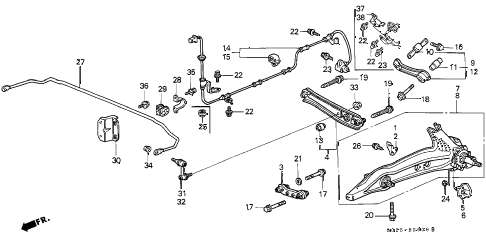 2000 civic HX 2 DOOR 5MT REAR LOWER ARM diagram