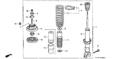 1997 civic HX 2 DOOR 5MT REAR SHOCK ABSORBER diagram