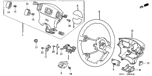 1997 civic EX 2 DOOR 4AT STEERING WHEEL (SRS) diagram