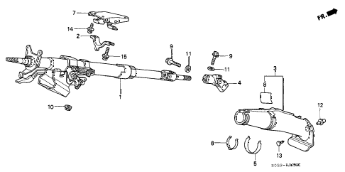 1998 civic EX 2 DOOR 5MT STEERING COLUMN diagram
