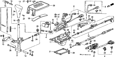 1999 civic DX 2 DOOR 4AT SELECT LEVER diagram