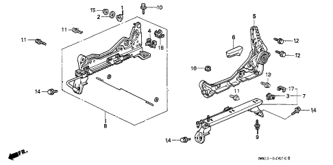 1997 civic EX 2 DOOR 4AT FRONT SEAT COMPONENTS (L.) (1) diagram