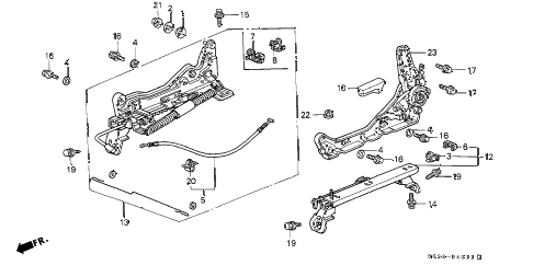 2000 civic SI 2 DOOR 5MT FRONT SEAT COMPONENTS (L.) (2) diagram