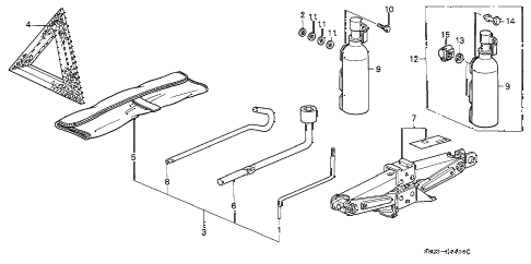 1997 civic DX 2 DOOR 5MT TOOLS - JACK diagram