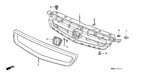 1997 civic HX 2 DOOR 5MT FRONT GRILLE (2) diagram