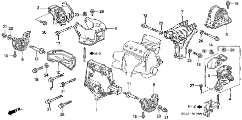 1996 civic DX 2 DOOR 5MT ENGINE MOUNT (MT) diagram