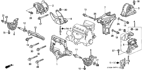 1997 civic DX 2 DOOR 4AT ENGINE MOUNT (AT) diagram