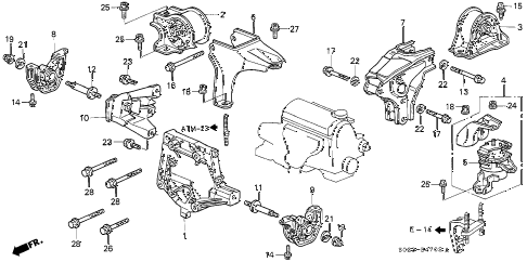 1998 civic HX 2 DOOR CVT ENGINE MOUNT (CVT) diagram