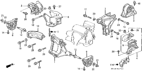 2000 civic SI 2 DOOR 5MT ENGINE MOUNT (DOHC VTEC) diagram