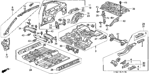 1998 civic HX 2 DOOR CVT INNER PANEL diagram