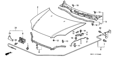 1996 civic HX 2 DOOR CVT HOOD diagram