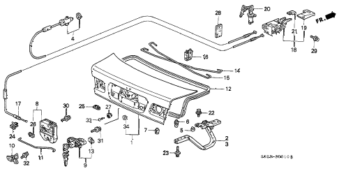 1997 civic HX 2 DOOR 5MT TRUNK LID diagram