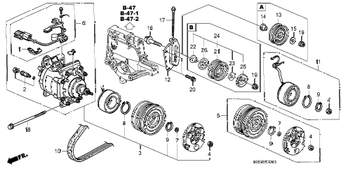 1998 civic EX(ABS) 2 DOOR 5MT A/C COMPRESSOR (SANDEN) diagram