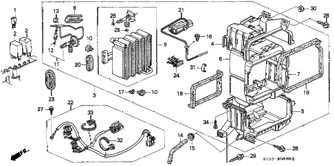 1997 civic EX(ABS) 2 DOOR 4AT A/C COOLING UNIT (1) diagram