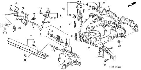 1998 civic DX(ABS,A/C) 2 DOOR 5MT INTAKE MANIFOLD (SOHC) diagram