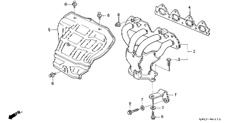 2000 civic EX(ABS) 2 DOOR 4AT EXHAUST MANIFOLD (VTEC) (2) diagram