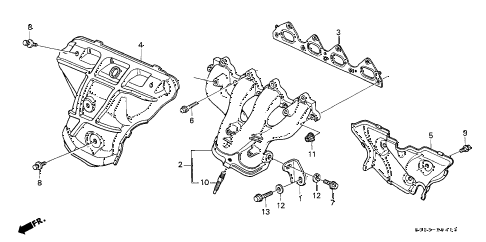 2000 civic SI 2 DOOR 5MT EXHAUST MANIFOLD (DOHC VTEC) diagram