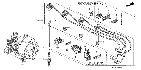 1996 civic DX 2 DOOR 5MT HIGH TENSION CORD - SPARK PLUG diagram