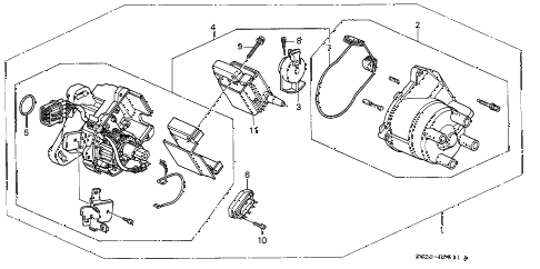 1998 civic HX 2 DOOR CVT DISTRIBUTOR (HITACHI) diagram