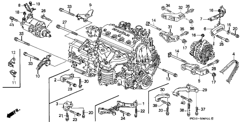 1999 civic DX 2 DOOR 4AT ALTERNATOR BRACKET - ENGINE STIFFENER diagram
