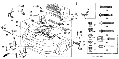 1997 civic DX(ABS,A/C) 2 DOOR 5MT ENGINE WIRE HARNESS diagram