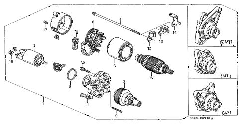 1996 civic DX(A/C) 2 DOOR 5MT STARTER MOTOR (MITSUBA) diagram