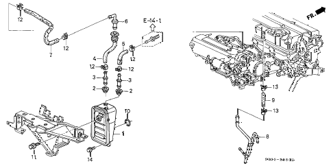 2000 civic SI 2 DOOR 5MT BREATHER CHAMBER (DOHC VTEC) diagram