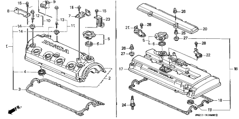 1998 civic DX(A/C) 2 DOOR 5MT CYLINDER HEAD COVER diagram