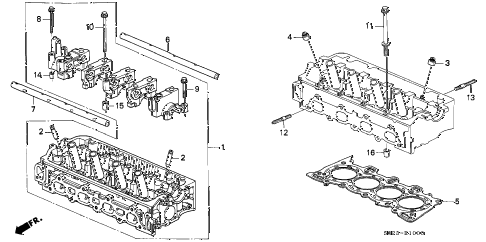 2000 civic DX 2 DOOR 5MT CYLINDER HEAD (SOHC) diagram