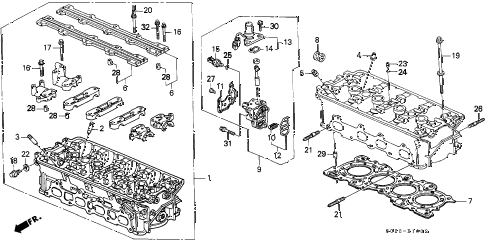 2000 civic SI 2 DOOR 5MT CYLINDER HEAD (DOHC VTEC) diagram