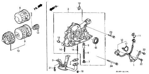 2000 civic SI 2 DOOR 5MT OIL PUMP - OIL STRAINER (DOHC) diagram