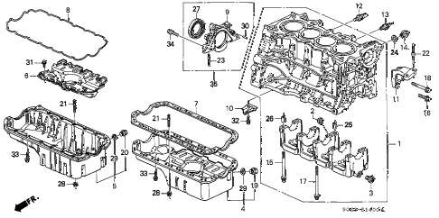 2000 civic HX 2 DOOR 5MT CYLINDER BLOCK - OIL PAN (SOHC) diagram
