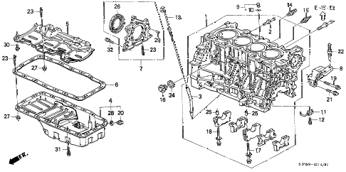 2000 civic SI 2 DOOR 5MT CYLINDER BLOCK - OIL PAN (DOHC) diagram