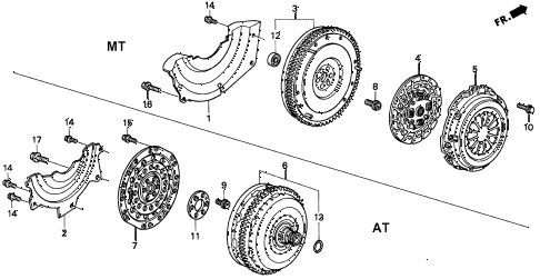 1998 civic EX(ABS) 2 DOOR 5MT CLUTCH - TORQUE CONVERTER diagram