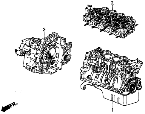 2000 civic SI 2 DOOR 5MT ENGINE ASSY. - TRANSMISSION ASSY. diagram