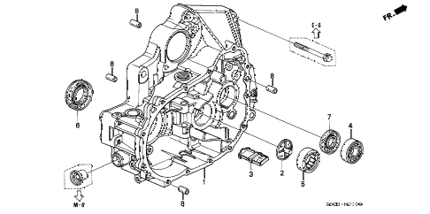 2000 civic EX 2 DOOR 5MT MT CLUTCH HOUSING (SOHC) diagram