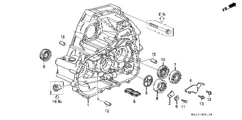 2000 civic SI 2 DOOR 5MT MT CLUTCH HOUSING (SOHC) diagram