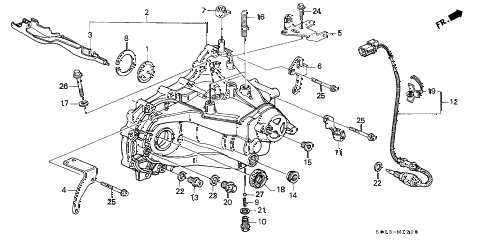 2000 civic SI 2 DOOR 5MT MT TRANSMISSION HOUSING (DOHC) diagram